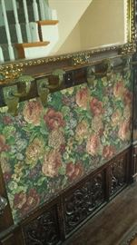 1800's European Antique Hand Carved Hall Bench Original Tapestry under current fabric.