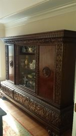 1800's Hand Carved China Cabinet Buffet w/ locking feature and key! European