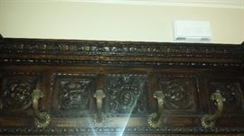 1800's European Antique Hand Carved Entry Bench