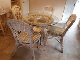 Chic wicker dining set with 4 chairs