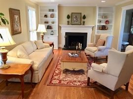Ethan Allen sofa, chairs, lamps, tables