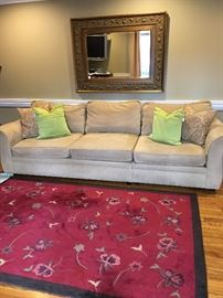 Pottery Barn ultra suede sofa and rug