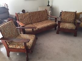 Maple Couch and chair set.  Cushions need replacement.