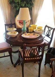 Round claw foot table (leaves included), Lyre chairs, Italian pottery, Murano lamp