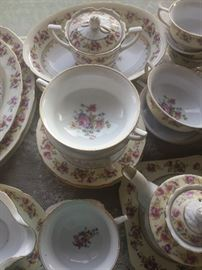 Gold Castle china with floral design