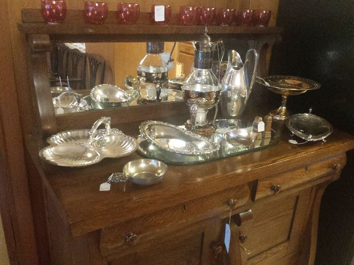 silver plate on vintage oak buffet with mirror