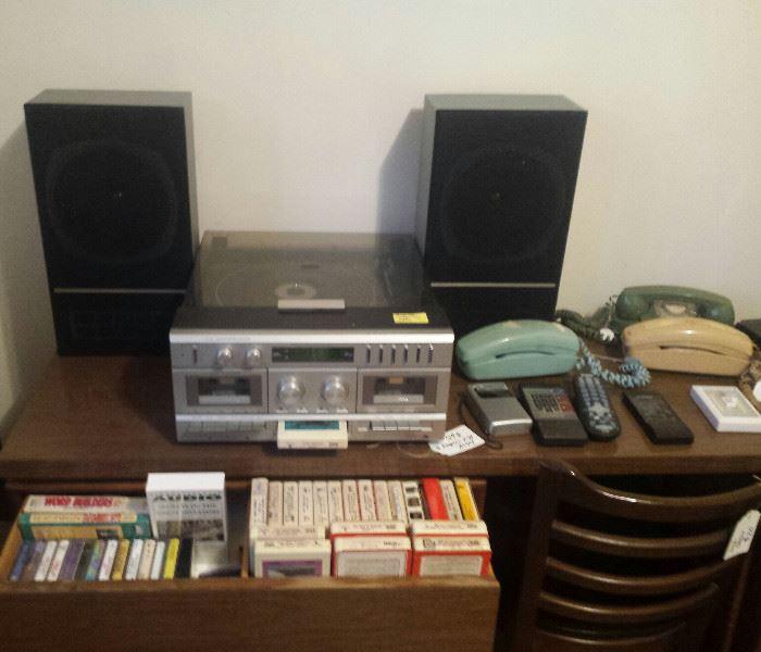 stereo, speakers, desk, 8-track, cassettes