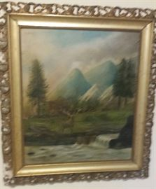 painting of deer/mountains
