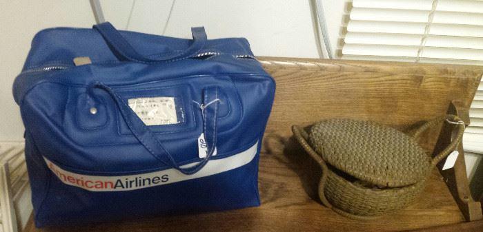vintage American Airlines bag, sewing basket
