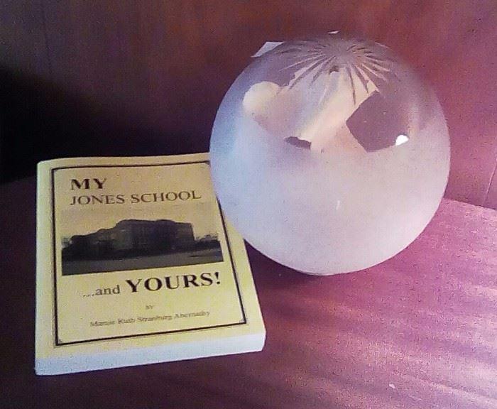 Jones school house globe and book