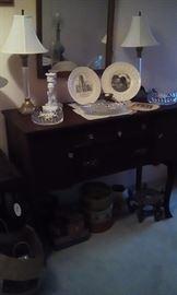 Foyer table, Arkansas memorabilia