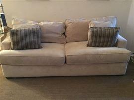Microfiber sofa was stain treated. Durable comfortable sofa