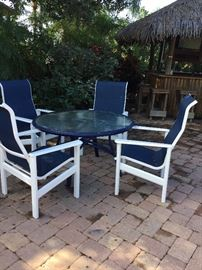 Top of the line still being sold in stores (4) Hatteras chairs made of marine plastic. They are built to last sold in stores for $380 each.