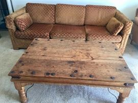 SOLD Regency silk couch- STILL AVAIL Soild wood coffee table.