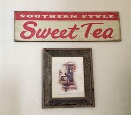 Vintage New Orleans Sweet Tea wood sign and Buckwheat.