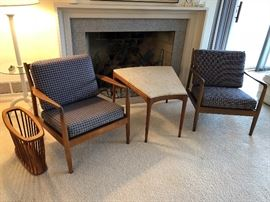 Two vintage Danish Modern Folke Ohlsson for DUX arm chairs