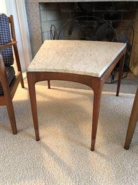 Vintage Danish Modern marble top wedge table