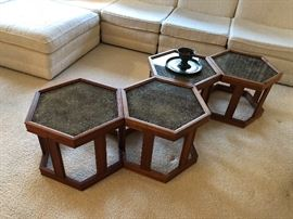 4 Vintage MCM John Keal for Brown Saltman walnut hexagonal end tables