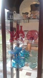Beautiful colored glass from 20s on, Toby Mugs. Wedgewood, Frosted elephant trinket box, Cambridge swans