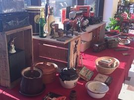 early kitchen and games, crocks, corn ware, ball jars, all kinds,