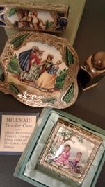 STUNNING COMPACTS, ENAMELED LIMOGES WITH 24K GOLD SETTING!