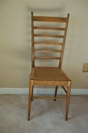 Vintage straight back woven bottom chair