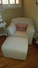 off white chair & ottoman    $125