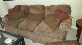 Soft brown 3 cushion sofa - $175