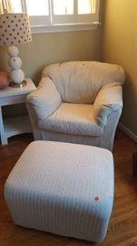 Tan chair & ottoman