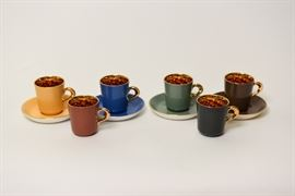 Figgjo Flint Norway Demitasse Cups With Harlequin Gold Inside