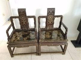 Antique Chinese chairs, Hand painted and at least 100 years old!
