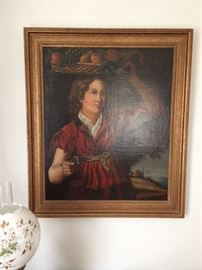 "Antique oil painting.  Nicely framed. 30""wide x 36"" tall"