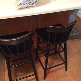 3 sturdy black bar chairs