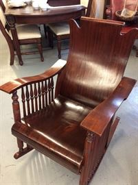 Beautiful Walnut Spinal Rocking Chair