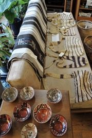 woven bags, pottery, rugs