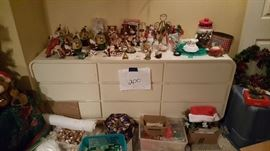 Misc. Christmas items and dresser
