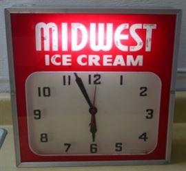 1957 Midwest Ice Cream Clock - Lights Up & Runs