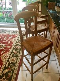 4-Ethan Allen rush seat bar stools
