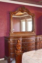 King bedroom furniture suite:  clothing or media armoire, dresser with mirror, 2 side tables, low 4 poster bed, mattress set