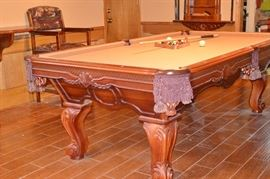 billiard / pool table with accessories, 2 stool / chairs and table set