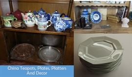 Teapot collection.  Plates and platters