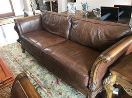 Bernhardt leather sofa & 2 matching oversized chairs