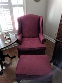 Winged backed  chair with ottoman