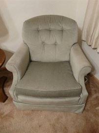 Pair of vintage sage club chairs