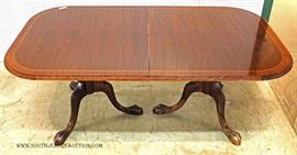 "11 Piece Solid Mahogany Chippendale Style Banded Dining Room Table with 10 Chairs  Table 42""x76"" with (2) 19"" Leaves Sold by ""Paramount Antiques Inc."""