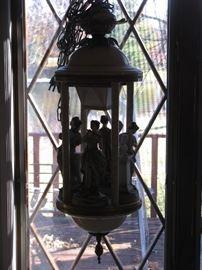 "Antique Bisque ""The Arts Muses"" Porcelain Swag Lamp"