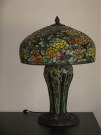 HUGE Tiffany Style Stained Glass Table Light with Metal Base