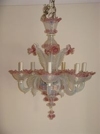 Vintage MURANO Art Glass Chandelier Mid century-Opalescent Pink Flowers & Leaves