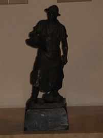 Schmidt Felling 19C German Machinist Bronze Statue