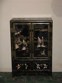 Vintage Oriental Black Lacquer Cabinet Mother of Pearl Geisha Girls